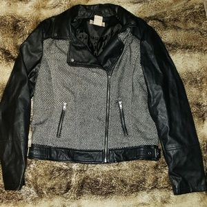 Women's Black and Striped Moto Jacket